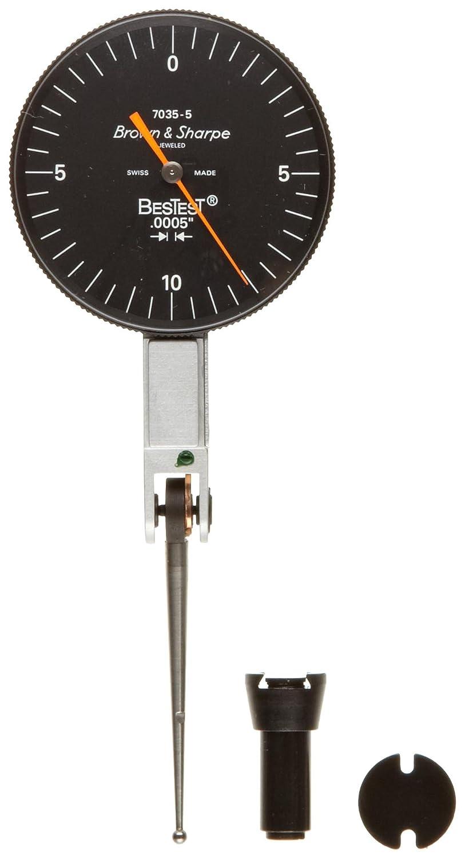 Brown /& Sharpe 599-7035-5 Dial Test Indicator Set +//-0.0005 Accuracy M1.4x0.3 Thread 0-0.02 Range 1.5 Dial Dia. 0-10-0 Reading Black Dial 0.0005 Graduation