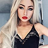 Cheap Musegetes Ombre Blonde Synthetic Lace Front Wigs Natural Straight Heat Resistant Wigs For Women HS2013