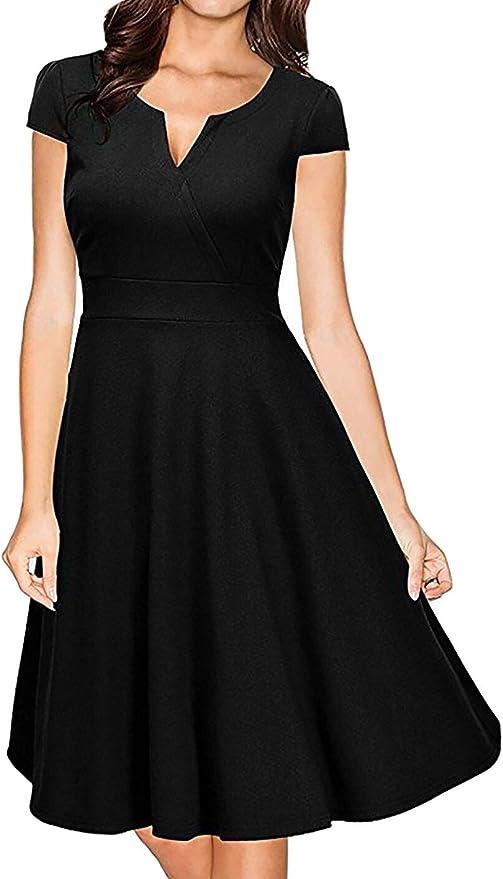 DELEY elegancka sukienka na imprezę z dekoltem w kształcie litery A damska koktajl wieczÓr Swing Dress: Odzież