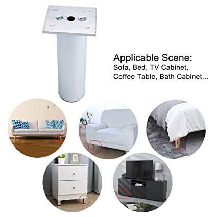 Juego de 4 estantes redondos de 5 pulgadas para muebles encimera para sof/á mesa armario patas de aleaci/ón de aluminio mesa o escritorio Sourcingmap