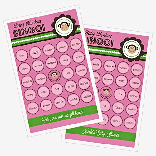 3 sets of 16 Pink Monkey Party Bingo by Eventblossom