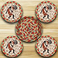 Earth Rugs Cnb-466 Kokopelli 5 Inch Round Basket with 4 printed Coasters