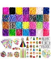 Rainbow Rubber Bands Bracelet Kits, Colorful Loom Bands with Storage Container for Bracelet Making Kit DIY Band Set for Kid Girls Birthday Gift (28 Colors)