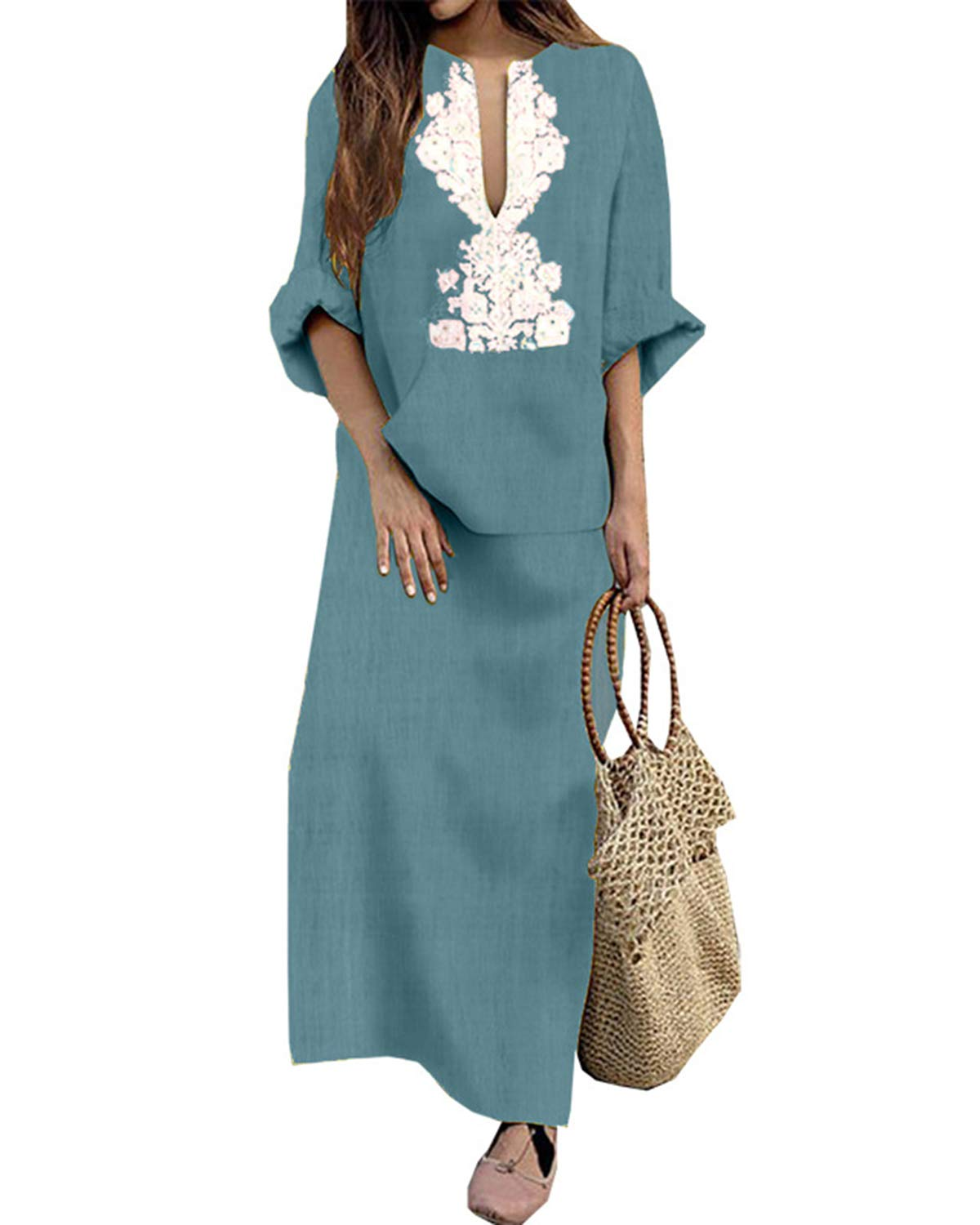Jacansi Women's Ethnic Printed Long Sleeve V-Neck Cotton Linen Maxi Dress Light Blue #1XL by Jacansi (Image #1)
