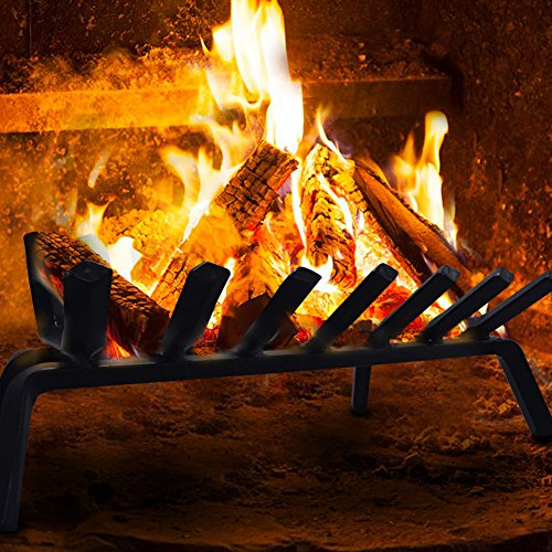 Fireplace log grate under logs and fire.