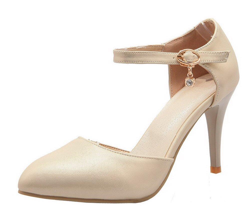 Damen Schnalle PU Hoher Absatz Rein Pumps Schuhe,EuD64 Cremefarben 39 AgeeMi Shoes
