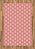 interesting bedroom wood tile Ambesonne Coral Area Rug, Cool Simplistic Linear Sunflower Tied Bound Crochet Damask Floral Lace Tiles Motif, Flat Woven Accent Rug for Living Room Bedroom Dining Room, 4 X 5.7 FT, Coral White