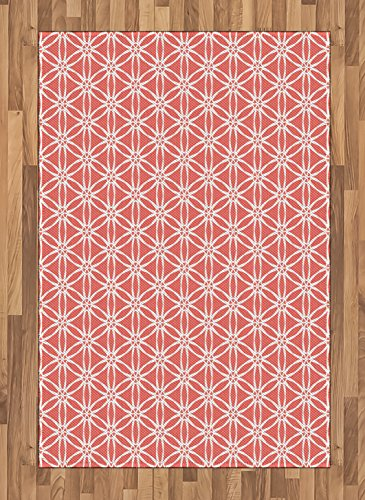 Ambesonne Coral Area Rug, Cool Simplistic Linear Sunflower Tied Bound Crochet Damask Floral Lace Tiles Motif, Flat Woven Accent Rug for Living Room Bedroom Dining Room, 4 X 5.7 FT, Coral White
