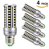 corn bulb 100w - HUIERLAI 4-pack 12W Super Bright LED Corn Bulb ,Residential and Commercial Projec E26/E27 (Replacement Incandescent Bulbs 100W ) 1205Lm AC85-265V White(6000K) No-Dimmable.