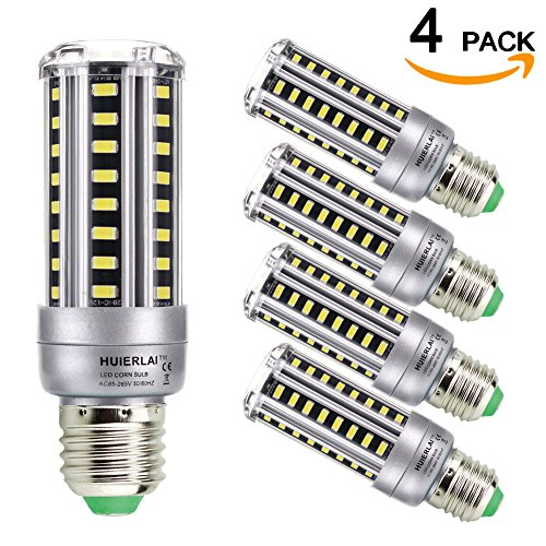 HUIERLAI 4-pack 12W Super Bright LED Corn Bulb,Residential and Commercial Projec E26/E27 (Replacement Incandescent Bulbs 100W) 1205Lm AC85-265V White(6000K) No-Dimmable. (Led E27 Bulb)