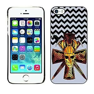 - Devil Cross Chevron Pattern - - Monedero pared Design Premium cuero del tir¨®n magn¨¦tico delgado del caso de la cubierta pata de ca FOR Apple iPhone 5 5S Funny House