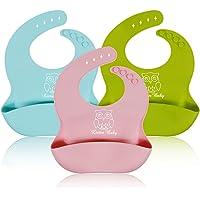 Lictin 3 Pezzi Impermeabilizzano Dolci Morbidi del Silicone Morbido per il Bambino Infantile (Rosa/Azzurro / Calce Verde). Pulire Pulire, Roll up.