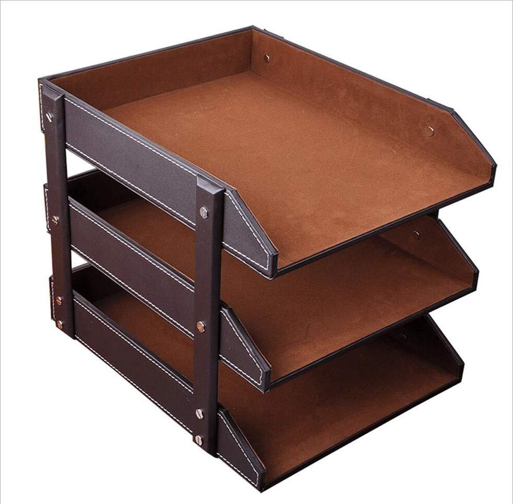 LYLYSS in Pelle File Titolare Cestino File Box Informazioni Frame Office Fornisce Multi-Layer Desktop Creative Book Stand Storage Rack,Marronee