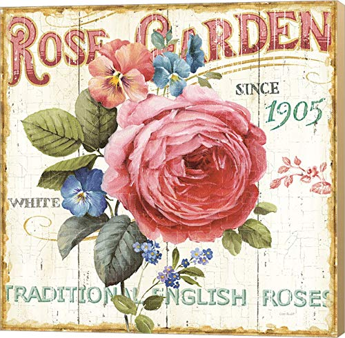 Rose Garden I by Lisa Audit Canvas Art Wall Picture, Museum Wrapped with Khaki Sides, 14 x 14 inches - Lisa Audit Rose