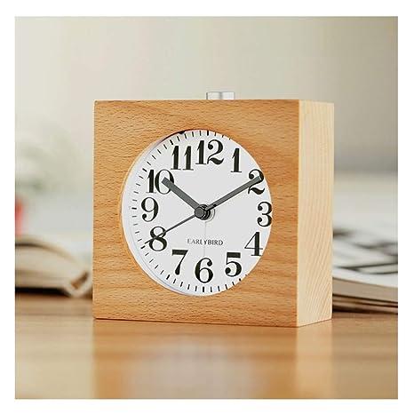 Relojes de mesa Reloj de Escritorio Cuadrado pequeño rectángulo Mesa silenciosa Snooze Reloj Despertador de Madera