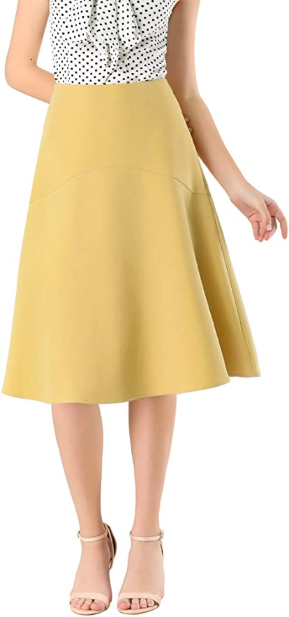 1940s Teenage Fashion: Girls Allegra K Womens Casual Skater High Waist Office A-Line Flared Midi Skirt  AT vintagedancer.com