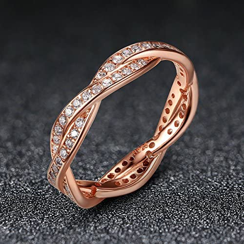 Presentski Or-rose Plaqu/é Bague Argent Massif 925 avec Zirconium Cristal pour Femme Fille Bride Mariage