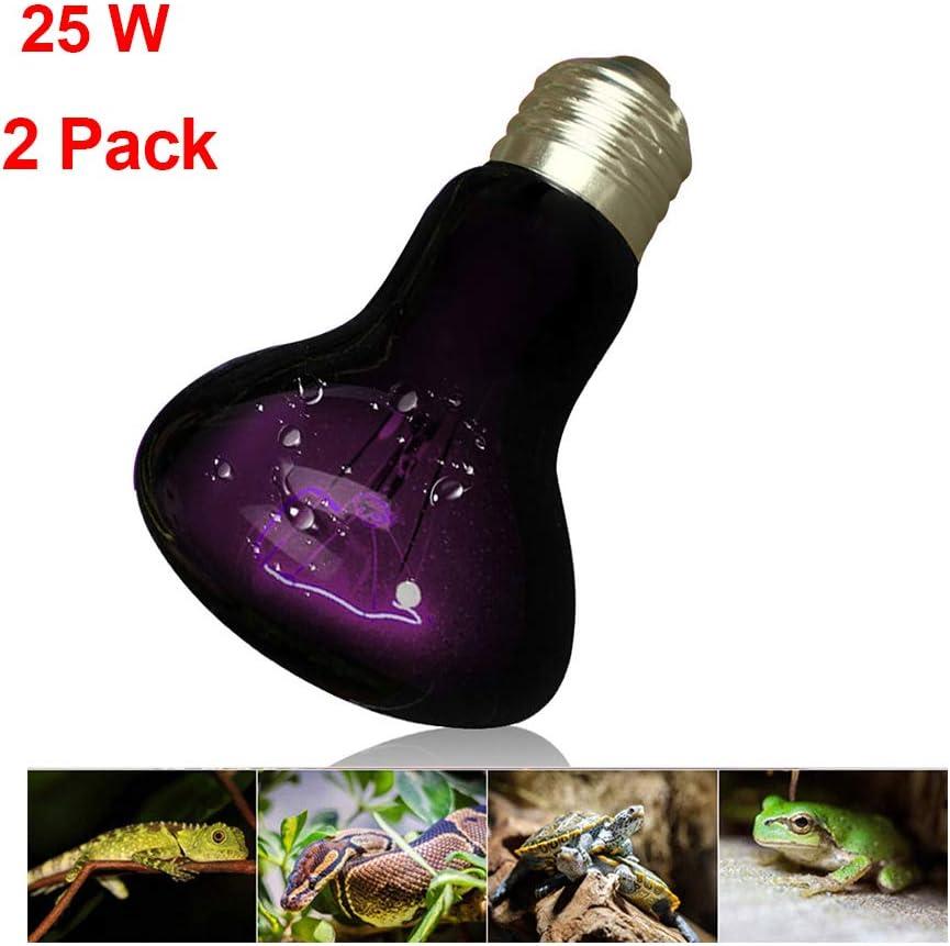 25W Pet Night Heat Lamp,Reptiles Night Light Bulb,Amphibian Basking UVA Night Light,Simulated natural moonlight,Nocturnal viewing,AC 220-240V,E27 Screw Thread 2 pcs ZED-