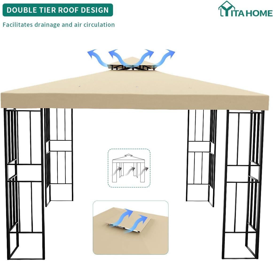 YITAHOME - Cenador de jardín con doble techo con marco de acero para patio, patio, patio, cubierta, barbacoa (3 x 3 m): Amazon.es: Jardín
