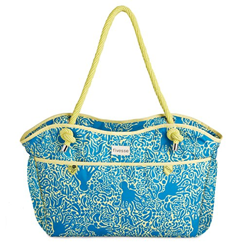 fivesse-water-resistant-beach-bag-octopus-pattern-protective-interior-pockets