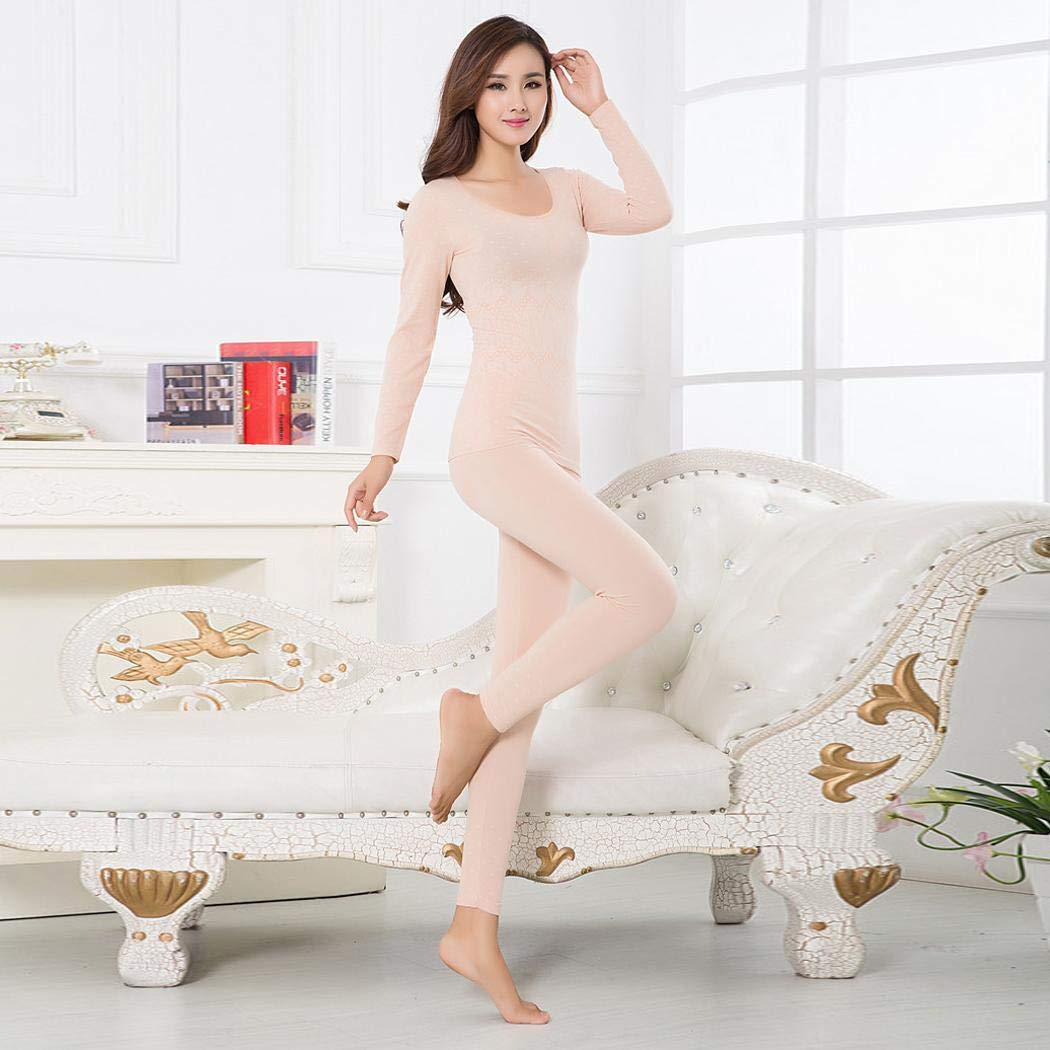 Sasarh Women Casual O-Neck Long Sleeve Shaping Thermal Underwear Set Sets
