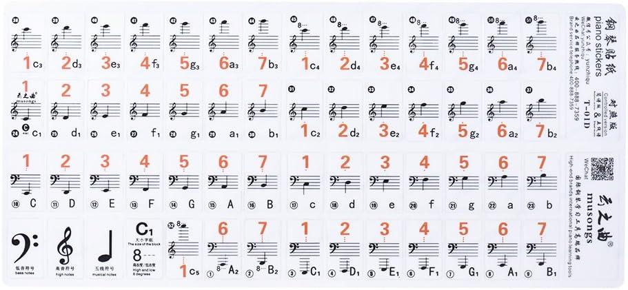 ammoon Piano Nota Etiqueta Transparente 37 49 61 Teclado Electrónico 88 Key Stave Versión de la Notación & Partitura para Teclas Blancas