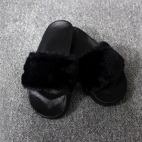 Sliders Flops La Flush Femme Fourrure Noir à Fausse Flop sur Fourrure Slip en GreatestPAK qxt8Yw