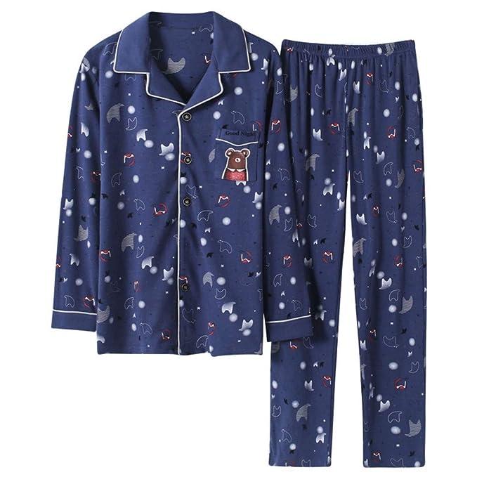 MEIXIA Ropa De Dormir Batas Camisón Negligés Pijamas Hombres Manga Larga Algodón Primavera Y Otoño Juventud: Amazon.es: Ropa y accesorios