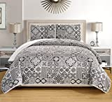 White King Size Bed 3-Piece Fine printed Oversize (115