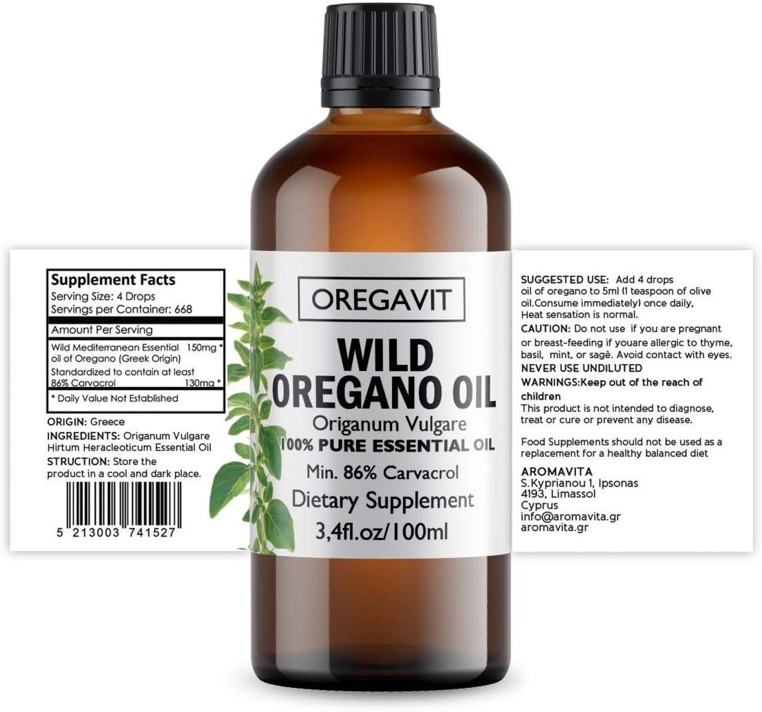 100 Pure Wild Greek Oregano Oil Food Grade Quality. Certified. 3.4 FL.OZ 100ML