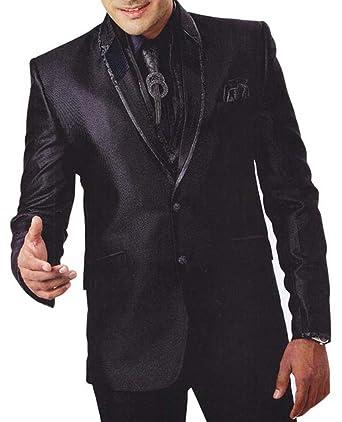 INMONARCH Hombres 7 Pc traje negro esmoquin ropa para fiestas ...