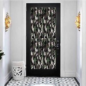 3D Door Sticker Murals Self-Adhesive Door Decals, Camo Pixelated Digital Abstract, PVC Living Room Bedroom Bathroom Home Door Wallpaper Decor, W30.3 x L78.7 Inch