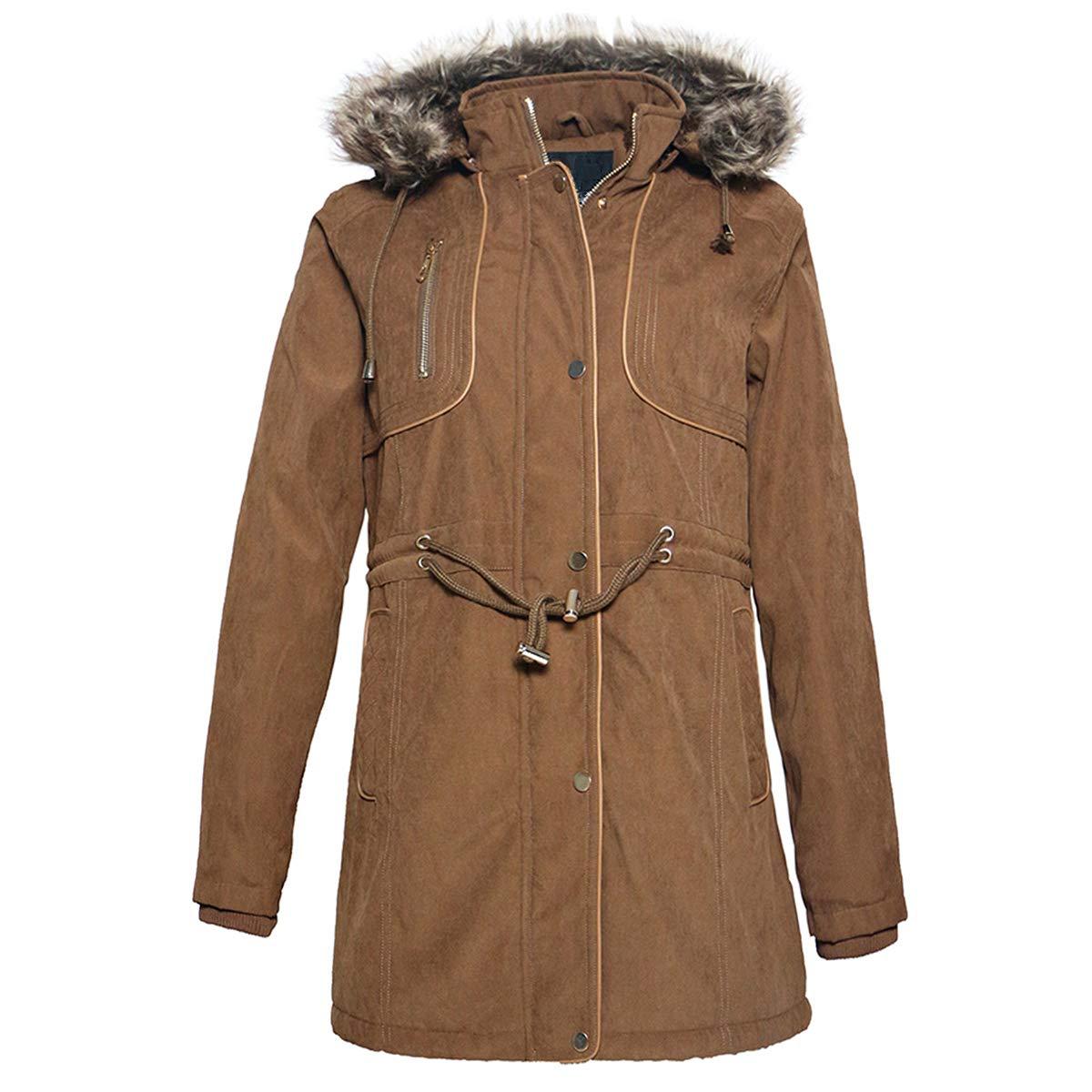 Facitisu Women/'s Parka Jacket Hoodie Winter Warm Faux Fur Anoraks Lined Drawstring Outdoor Military Coats