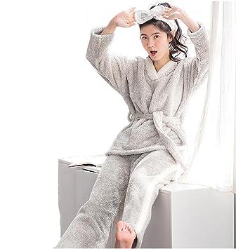 Las pijamas de franela de invierno de las mujeres fijaron la manga larga espesan 2 piezas