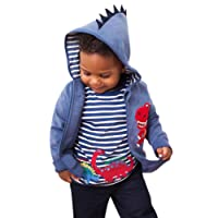 KaloryWee Unisex Kids Boys Tops Pullover Sweaters Cartoon Dinosaur Stripe Short Sleeve t Shirts Jumpers Sweatshirt Clothes 1 2 3 4 5 6 Years