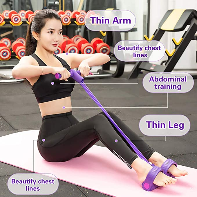 PullPritt Multifunktions Fitness Sit-up Trainings Seil Trainingsband mit Pedal Yoga Stretching Beintrainer Bauchtrainer Widerstand Trainingsger/ät Leg Exerciser mit 4 Tubes Elastische Zugseil