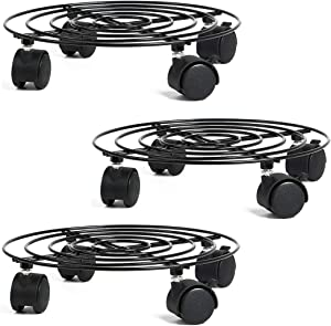 unho 3 Pack Metal Plant Caddy with Wheels 10.8 Inches Round Plant Stand on Rollers Flower Pot Mover for Home Garden, Black