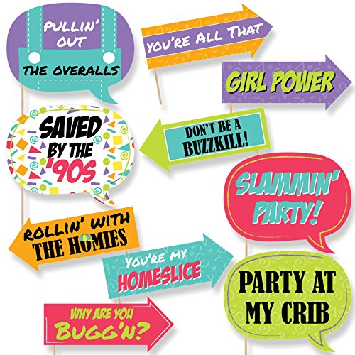 Big Dot of Happiness Funny 90's Throwback - 1990s Party Photo Booth Props Kit - 10 (90s Theme)