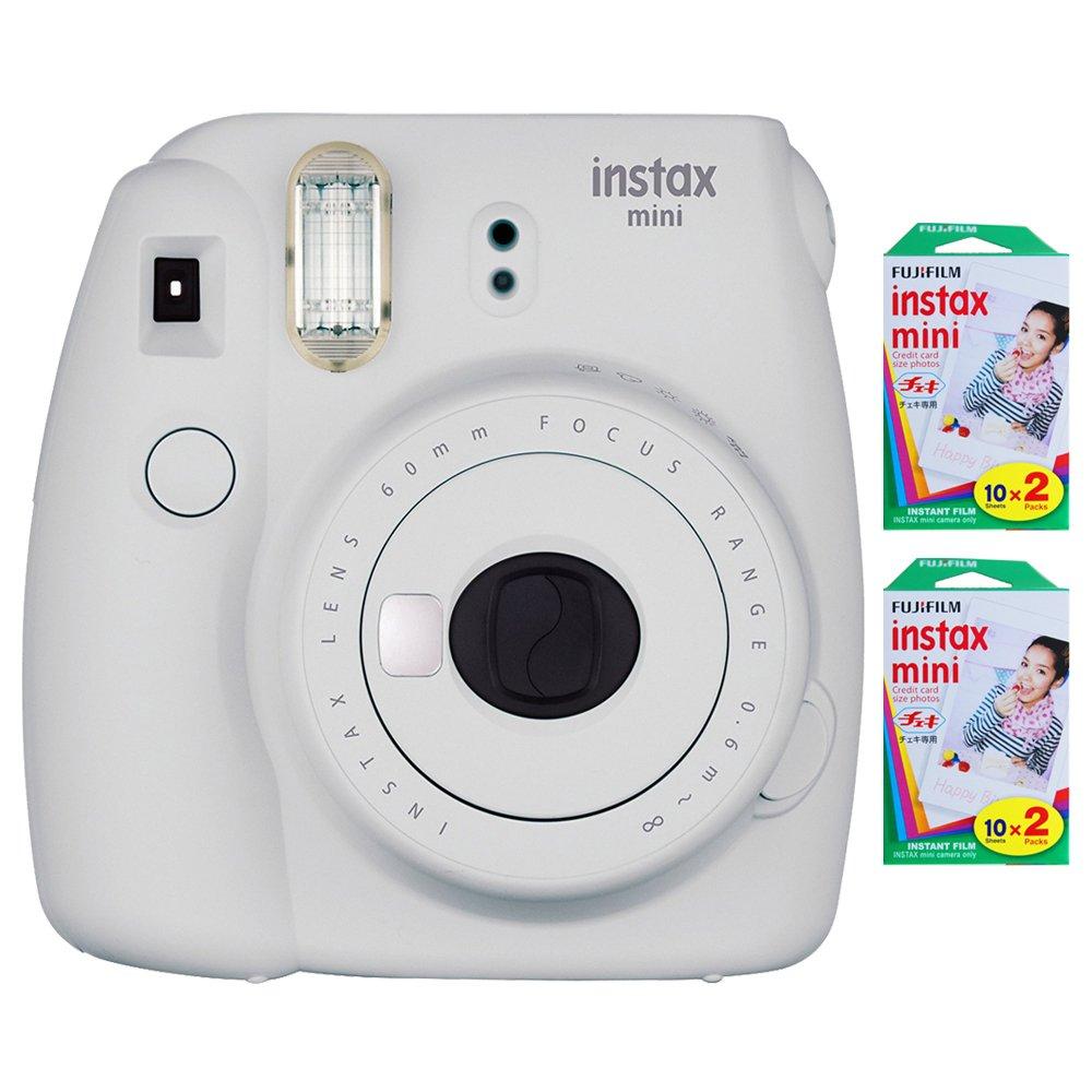 Fujifilm Instax Mini 9 (Smokey White) + 2 x Instant Film Double Pack