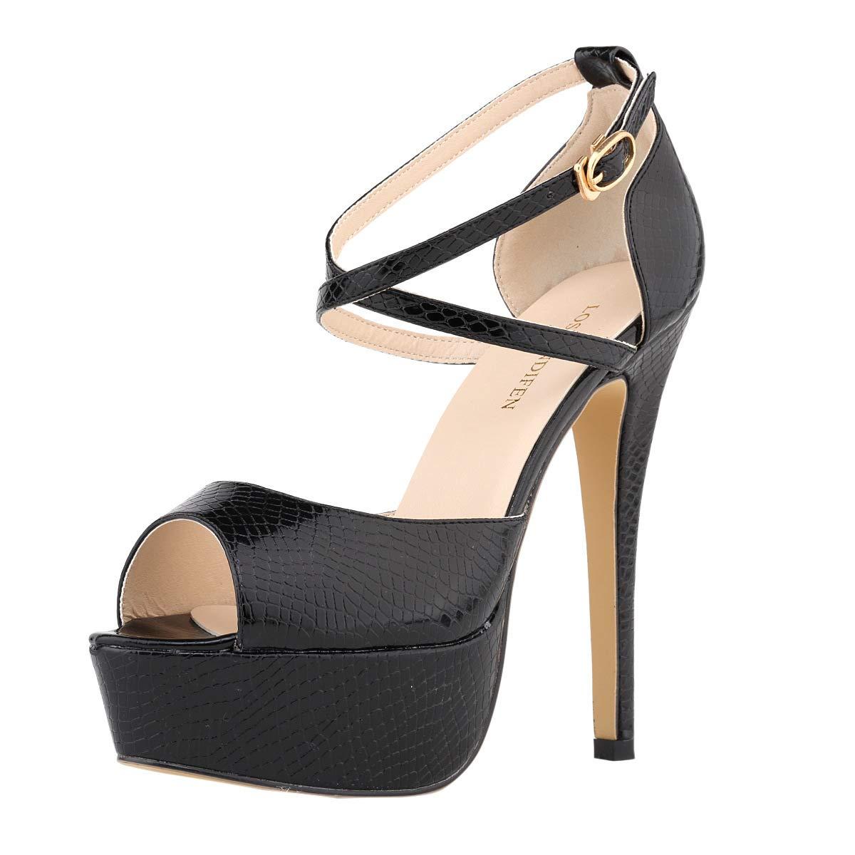 Black Women's Peep Toe Platform Stiletto High Heel Ankle Crisscross Strap Buckle Snap Dress Party Heeled Sandals