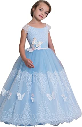 Amazon.com: Banfvting Lace Tulle Long Graduation Gown Children Prom ...