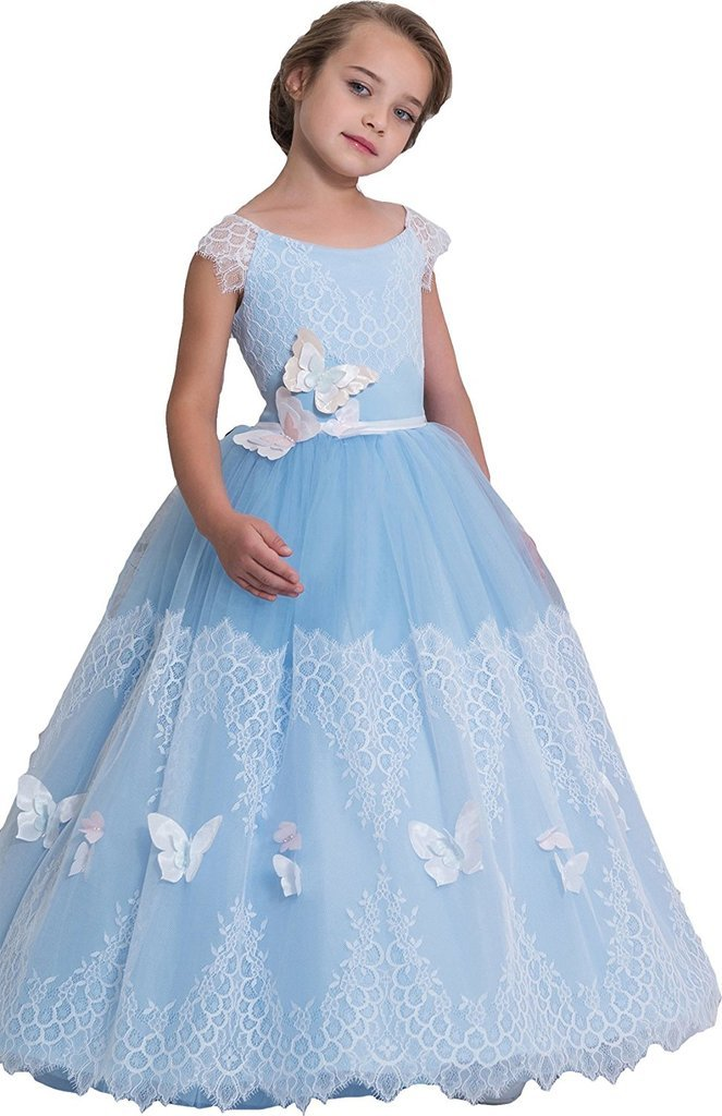 Banfvting Lace Tulle Long Graduation Gown Children Prom Dress With Handmade Flowers