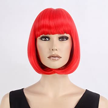 Stfantasy Wigs for Women Cosplay Costume Short Straight Synthetic Flat Bang Peluca 12 Inch 135g w