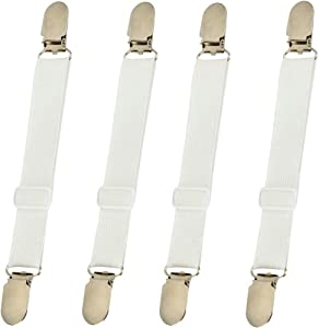 4Pcs Elastic Bed Mattress Sheet Clips Grippers Straps Suspender Fasteners Holder (4pcs White)