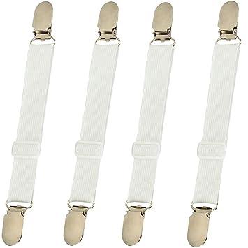 4 pinzas con banda elástica para colchón de cama, correas de sujeción, tirantes de sujeción.: Amazon.es: Hogar