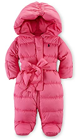 a4c917f2cae0 Amazon.com  Ralph Lauren Baby Girls  Quilted Down Snowsuit Bunting ...