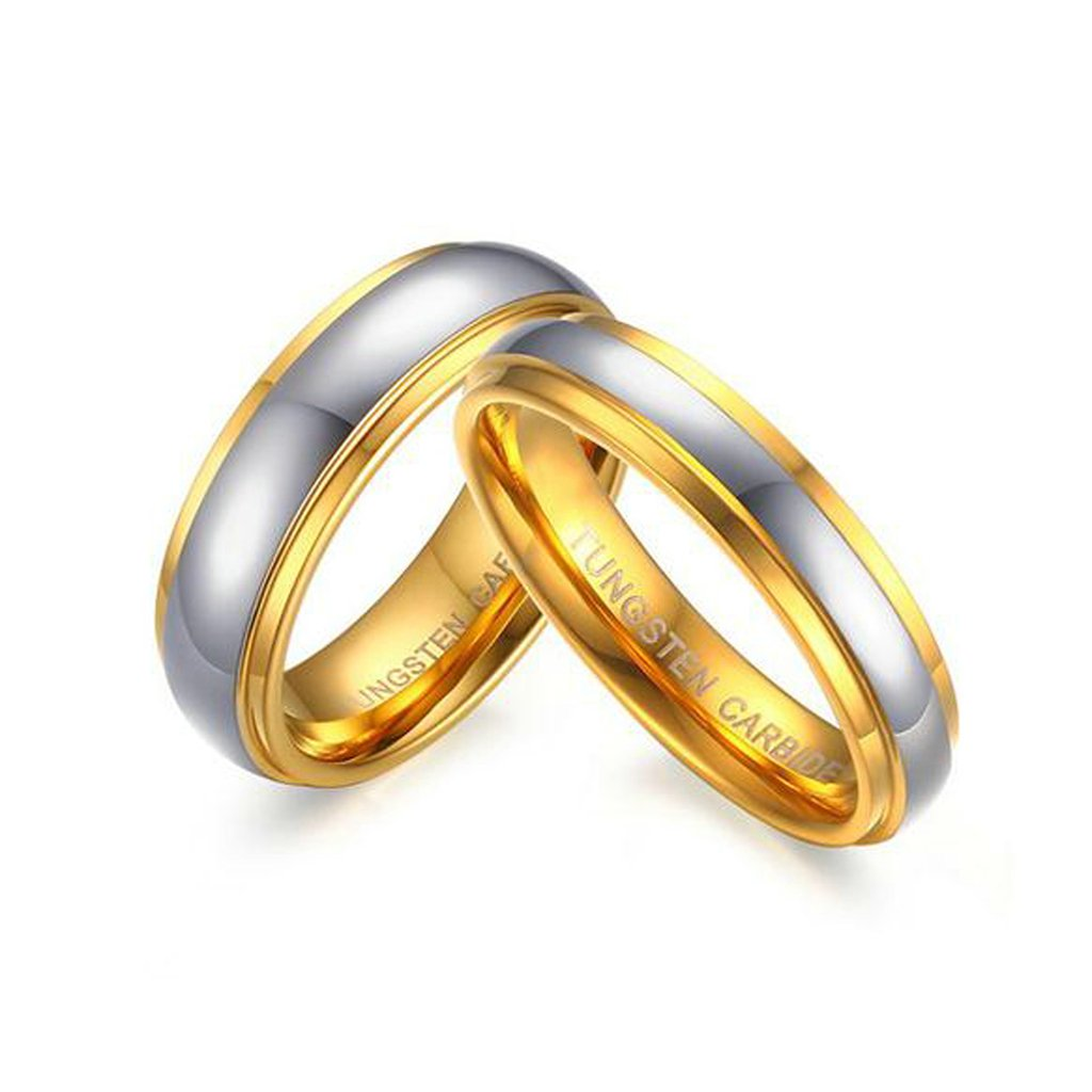 4Mm Tungsten Wedding Band Sets His And Hers 2Pcs Set Bishilin Gold Plated 6Mm