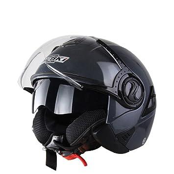 MATEROP Casco de Moto de Cara Abierta Capacete De Moto Casco de Moto de Moto Negro