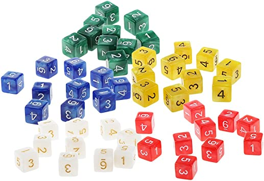 Bonarty 50 Piezas De Acrílico D6 Dice 16 Mm Die Six Sided para ...