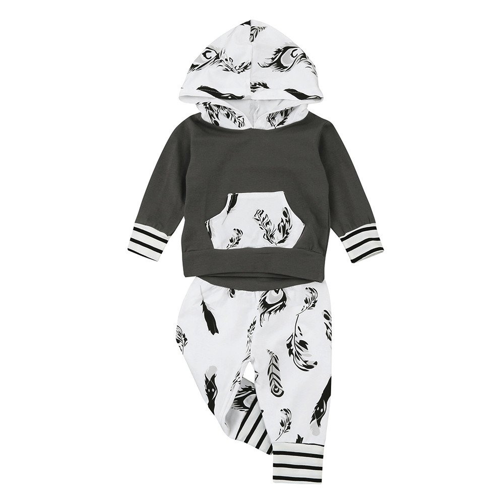 Jchen TM Fashion 2pcs Toddler Baby Boys Girls Clothes Set Floral Print Hoodie Tops+Pants Outfits For 0-24 Months